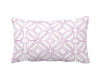 "Tribal Trellis Throw Pillow or Cover, Purple & White 14 x 20"" Lumbar/Oblong Pillows or Covers, Geo/Geometric/Diamond/Triangle Print/Pattern"