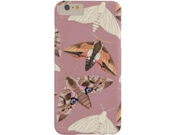 Moth Print iPhone XS, Max, XR, X, 8, 8P, 7, 7P or 6/6S, 6P Plus Snap Case or TOUGH Protective Cover, Blush Pink Insect/Butterfly/Bug/Bugs