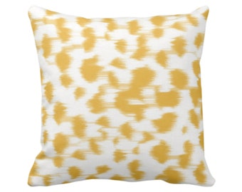 """Ikat Abstract Animal Print Throw Pillow/Cover 14, 16, 18, 20, 26"""" Sq Pillows/Covers, Citron Yellow/White Spots/Spotted/Dots/Dot/Geo/Painted"""