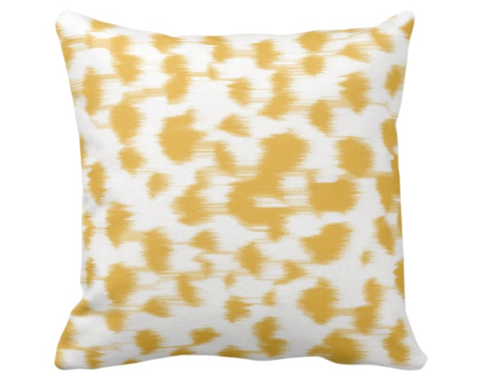"Ikat Abstract Animal Print Throw Pillow/Cover 14, 16, 18, 20, 26"" Sq Pillows/Covers, Citron Yellow/White Spots/Spotted/Dots/Dot/Geo/Painted"