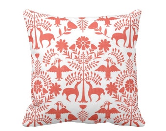 """Otomi Throw Pillow or Cover, White/Coral 16, 18, 20 or 26"""" Sq Pillows or Covers, Orange Mexican/Boho/Floral/Animals/Nature Print"""