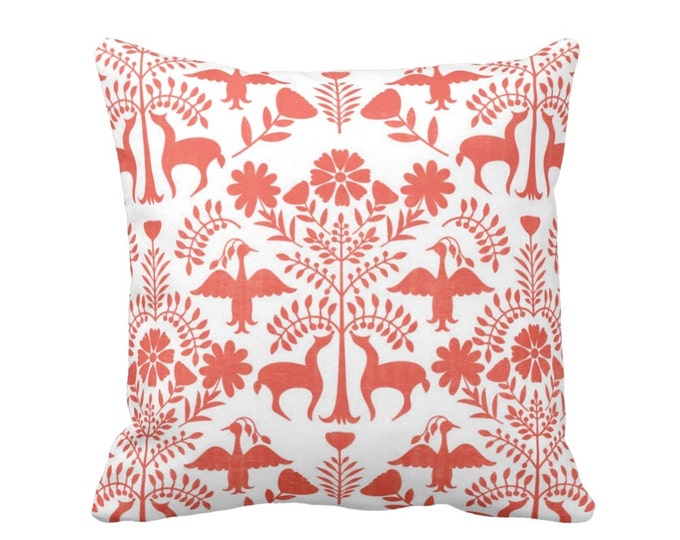 "Otomi Throw Pillow or Cover, White/Coral 16, 18, 20 or 26"" Sq Pillows or Covers, Orange Mexican/Boho/Floral/Animals/Nature Print"