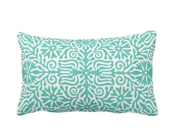 "OUTDOOR Folk Floral Throw Pillow or Cover, Teal/White 14 x 20"" Lumbar Pillows or Covers Bright Blue/Green Flowers/Boho/Bohemian/Tribal/Geo"