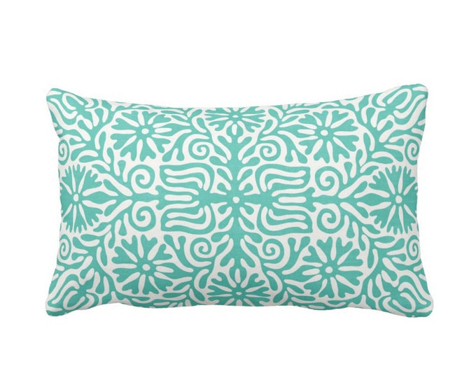 """OUTDOOR Folk Floral Throw Pillow or Cover, Teal/White 14 x 20"""" Lumbar Pillows or Covers Bright Blue/Green Flowers/Boho/Bohemian/Tribal/Geo"""