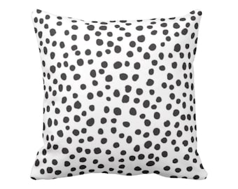 "Scatter Dots Throw Pillow or Cover, Black/White 16, 18, 20 or 26"" Sq Pillows or Covers, Polka/Spots/Animal/Modern/Leopard Print"
