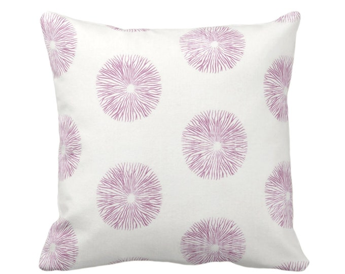 """OUTDOOR Sea Urchin Throw Pillow or Cover, Off-White/Plum 16, 18, 20"""" Sq Pillows or Covers, Purple/Pink Modern/Starburst/Geometric/Geo Print"""