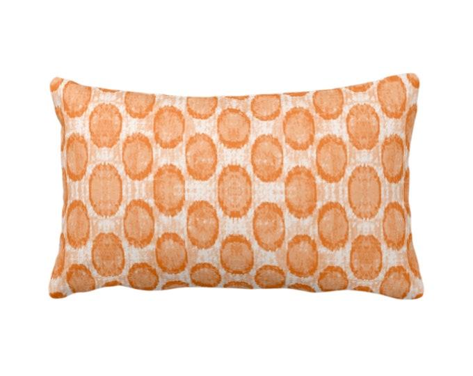 "Ikat Ovals Print Throw Pillow or Cover 14 x 20"" Lumbar/Oblong Pillows/Covers, Canteloupe Orange Geometric/Circles/Dots/Dot/Geo/Polka Pattern"