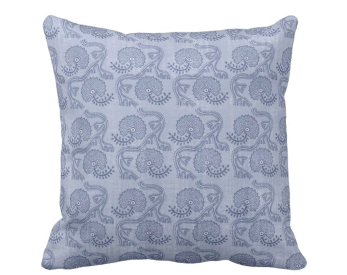 """OUTDOOR Block Print Floral Throw Pillow or Cover, Dusty Blue 16, 18 or 20"""" Sq Pillows or Covers, Flower/Batik/Boho/Indian/Blockprint Pattern"""