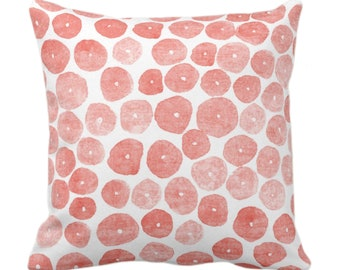 """OUTDOOR Free Form Watercolor Throw Pillow or Cover, Blush 14, 16, 18, 20, 26"""" Sq Pillows/Covers, Pink/Peach Modern/Abstract/Minimal Print"""