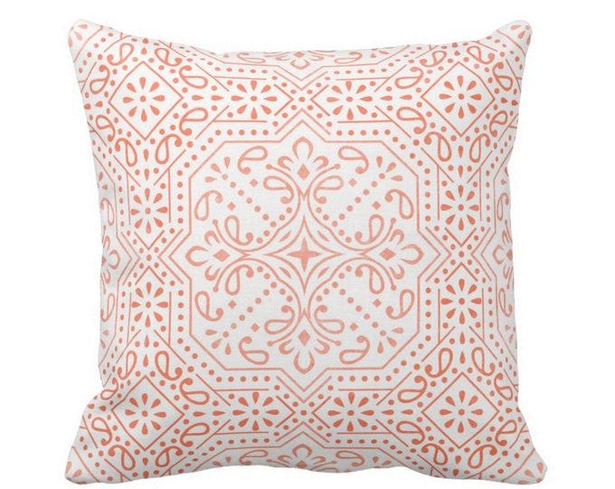 "OUTDOOR Tile Print Throw Pillow or Cover, Coral 16, 18 or 20"" Sq Pillows or Covers, Melon/Orange Geometric/Batik/Trellis/Boho/Lattice"