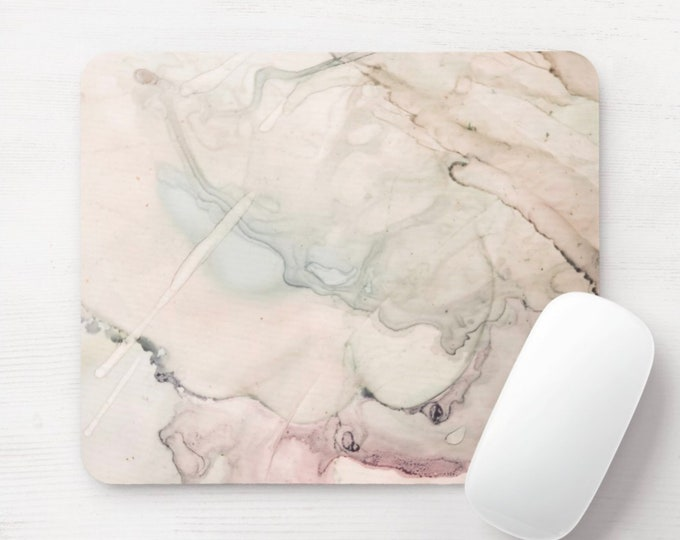 Abstract Watercolor Mouse Pad, Beige/Pink/Blue/Green/Off-White/Taupe Colorful Multicolored Art/Painted Mousepad, Minimal Modern/Art Print