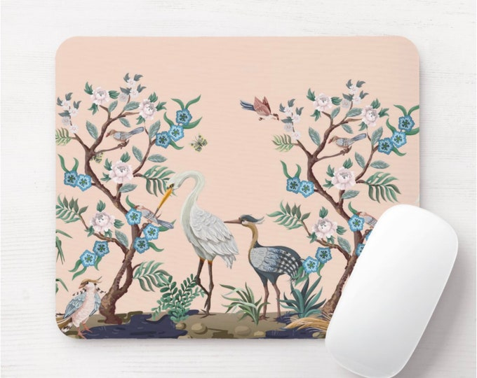Crane Floral Mouse Pad/Mousepad, Floral Pattern, Blush Pink, Blue, Green Birds/Bird Toile Flower/Naturalist/Botanical Illustration/Art Print