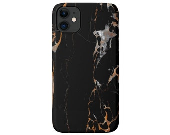 Black Marble iPhone 11, XS, XR, X, 7/8, 6/6S, Pro/Max/P/Plus Snap Case or TOUGH Protective Cover, Dark Veined Beige/Gray Stone/Marbled Print