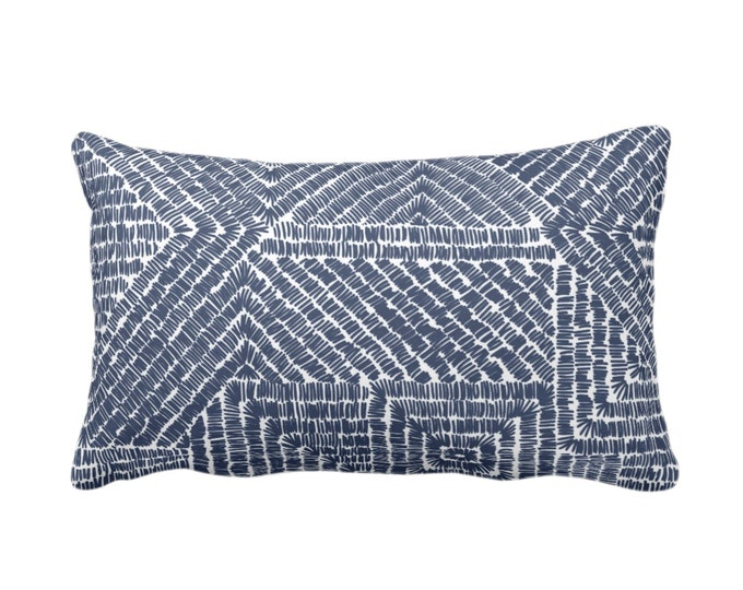 "OUTDOOR Tribal Geo Throw Pillow or Cover, Navy 14 x 20"" Lumbar Pillows/Covers, Dark Blue & White Scratch Geometric/Batik/Geo Pattern/Print"