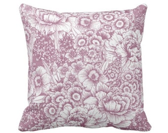 """Retro Floral Throw Pillow or Cover, Plum/White 16, 18, 20 or 26"""" Square Pillows or Covers, Dusty Purple/Violet Granny Flowers"""
