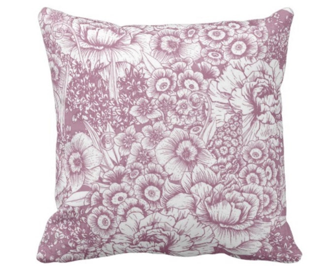 "Retro Floral Throw Pillow or Cover, Plum/White 14, 16, 18, 20, 26"" Square Pillows or Covers, Dusty Purple/Violet Granny Flowers"