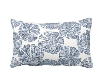 "Block Print Throw Pillow or Cover, Geo/Circles Navy Blue/White 14 x 20"" Lumbar Pillows or Covers, Blockprint/Batik/Medallion/Pattern"