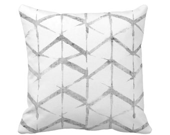 "OUTDOOR - READY 2 SHIP Shadow Geo Throw Pillow Cover, Gray/White 20"" Sq Pillow Covers, Shibori/Lines/Striped/Tribal/Geometric Print"
