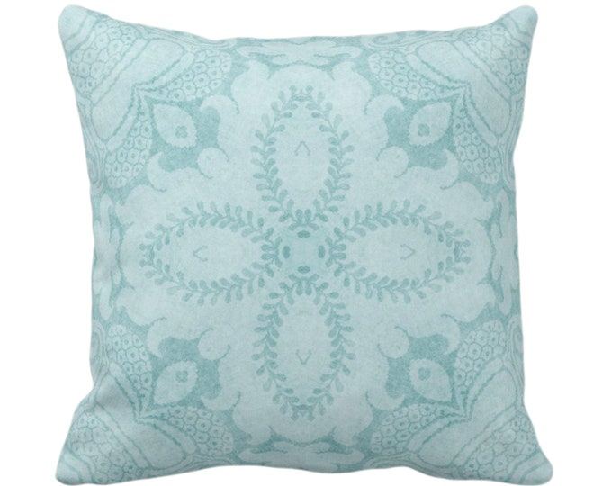 "OUTDOOR Nouveau Damask Throw Pillow/Cover, Calm Blue 16, 18, 20 or 26"" Sq Pillows/Covers, Dusty Blue/Green Floral/Batik/Boho/Tribal Pattern"