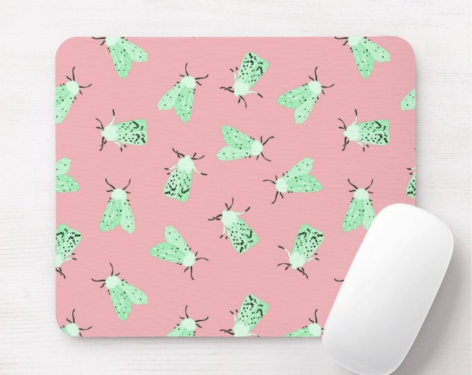 Moth Print Mouse Pad, Light Pink/Mint Green Insects/Bug Print Mousepad, Blush/Jade/Pastel/Pastels Spots/Moths/Flying/Insect/Vintage