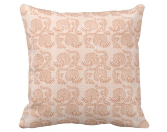 "OUTDOOR Block Print Floral Throw Pillow or Cover, Dusty Coral 16, 18 or 20"" Sq Pillows, Covers, Earthy Orange Batik/Boho/Blockprint Pattern"