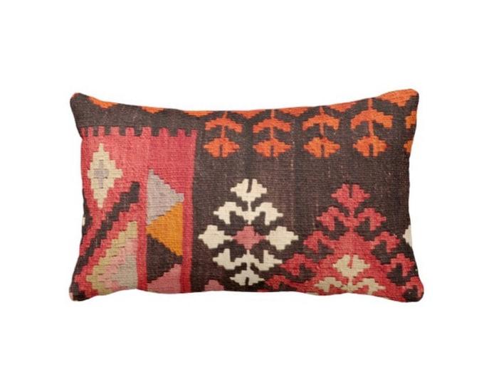 "OUTDOOR Turkish Rug Print Throw Pillow/Cover, Boho/Ethnic Geometric 4 x 20"" Lumbar Pillows or Covers, Red/Orange/Pink Geometric/Tribal/Geo"