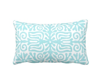 "Folk Floral Throw Pillow or Cover, Aqua/White 14 x 20"" Lumbar Pillows or Covers, Bright Blue/Green, Mexican/Boho/Bohemian/Tribal"