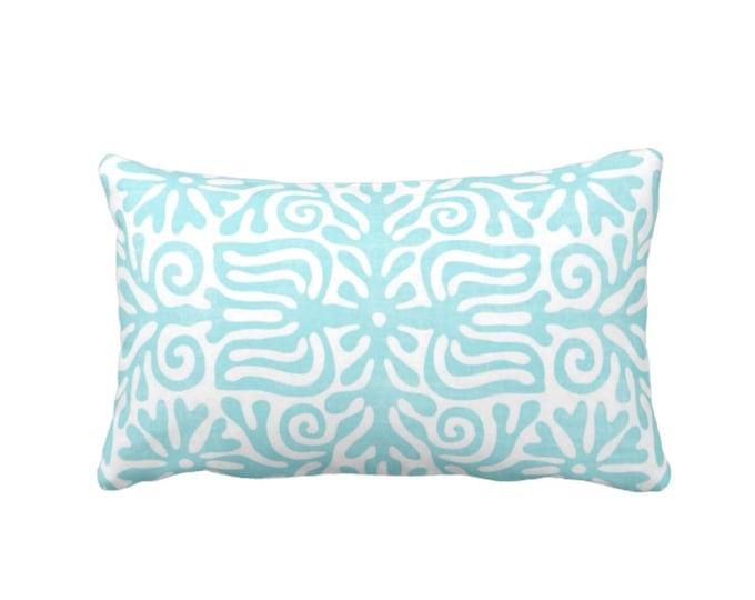 """Folk Floral Throw Pillow or Cover, Aqua/White 14 x 20"""" Lumbar Pillows or Covers, Bright Blue/Green, Mexican/Boho/Bohemian/Tribal"""
