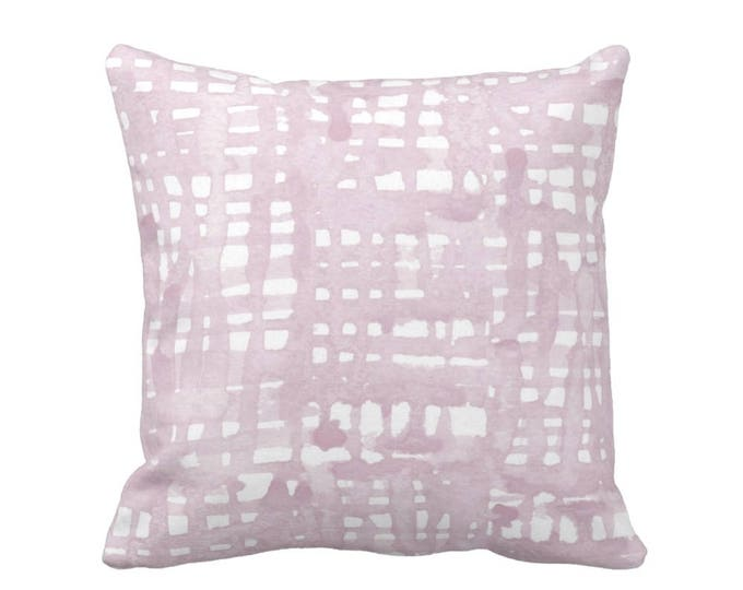 "OUTDOOR Watercolor Grid Throw Pillow or Cover, Mineral Mauve/White Pattern 16, 18 or 20"" Square Pillows or Covers, Iced/Dusty Pink/Purple"
