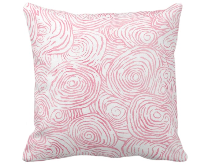 """OUTDOOR Watercolor Faux Bois Throw Pillow or Cover, Pink 14, 16, 18, 20"""" Sq Pillows or Covers, Light Brith Painted Modern/Swirl Print"""