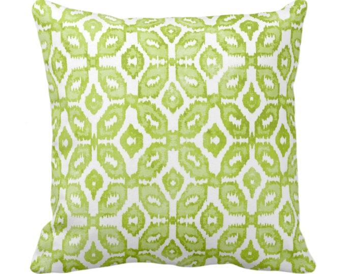 "Wasabi Ikat Print Throw Pillow or Cover 16, 18, 20 or 26"" Sq Pillows or Covers, White & Green Geometric/Diamonds/Dots/Diamond/Trellis/Geo"