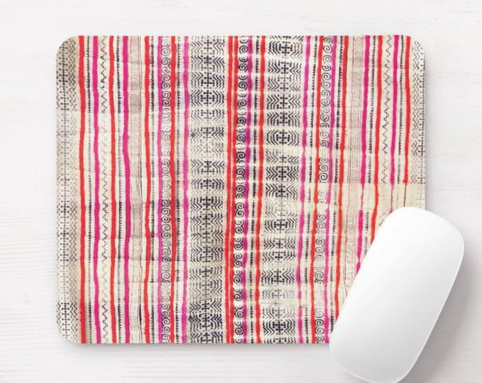 Batik Stripe Print Mouse Pad/Mousepad, Black, Pink, Red, Off-White Thai Chinese Minority Hill Tribe Vintage Fabric