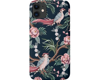 Peony Birds iPhone 11, XS, XR, X, 7/8, 6/6S, Pro/Max/P/Plus Snap Case or Tough Protective Cover, Teal Toile/Bird/Floral Pattern Galaxy LG