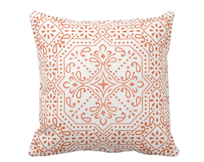 """OUTDOOR Tile Print Throw Pillow or Cover, Ivory/Coral 16, 18 or 20"""" Sq Pillows or Covers, Orange/Red Trellis Geometric/Batik Pattern"""