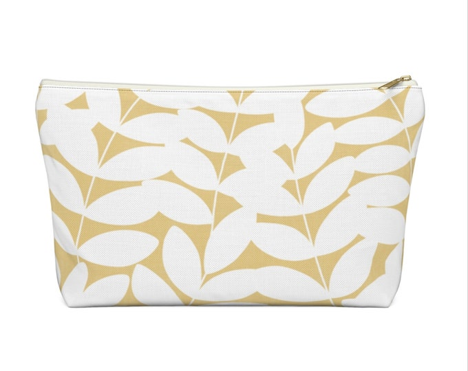 Stems Modern Botanical Print Zippered Pouch, Mustard/White Cosmetics/Pencil/Make-Up Organizer/Bag, Yellow Floral/Minimal/Leaves Pattern