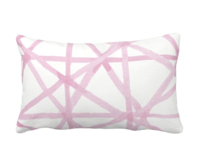 "OUTDOOR Painted Lines Throw Pillow or Cover, White/Pink 14 x 20"" Lumbar Pillows/Covers Print, Pinks Abstract Geometric/Geo/Lines Pattern"
