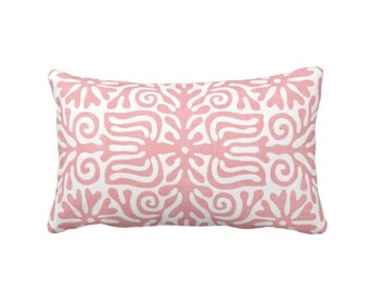 "Folk Floral Throw Pillow or Cover, Light Pink/White 14 x 20"" Lumbar Pillows or Covers, Mexican/Boho/Bohemian/Tribal Print/Pattern"