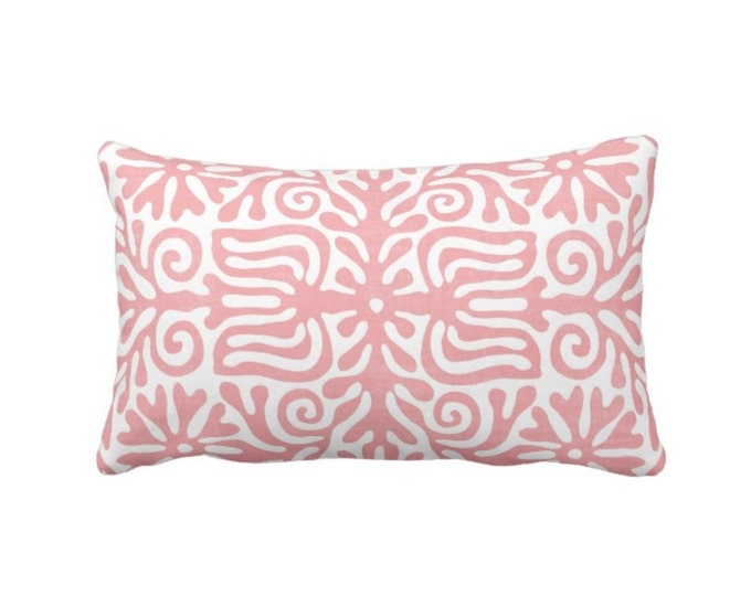 """OUTDOOR Folk Floral Throw Pillow or Cover, Light Pink/White 14 x 20"""" Lumbar Pillows or Covers, Mexican/Boho/Bohemian/Tribal Print/Pattern"""