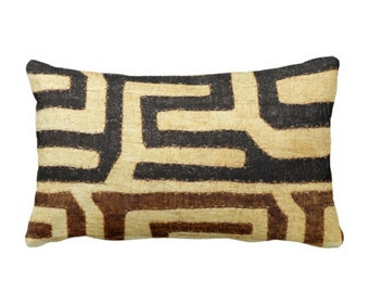 "OUTDOOR PRINTED Kuba Cloth Throw Pillow or Cover, Beige/Brown/Black 14 x 20"" Lumbar Pillows or Covers, African Tribal/Traditional/Boho Print"