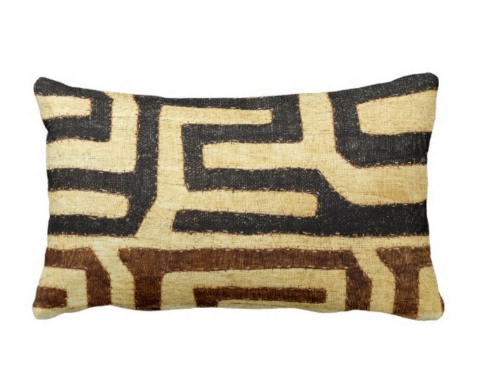 """OUTDOOR PRINTED Kuba Cloth Throw Pillow or Cover, Beige/Brown/Black 14 x 20"""" Lumbar Pillows or Covers, African Tribal/Traditional/Boho Print"""