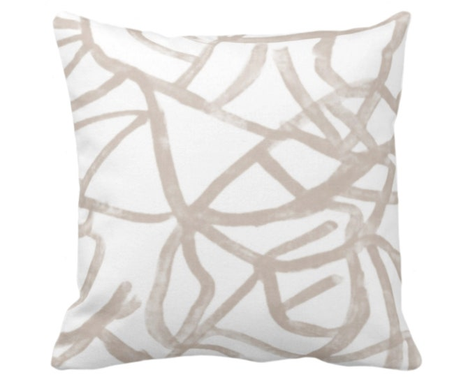 """Abstract Throw Pillow or Cover, Ivory/Bark 16, 18, 20, 26"""" Sq Pillows/Covers, Painted Taupe/Beige Modern/Geometric/Lines/Line Art Print"""