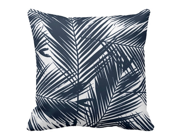 "Palm Leaves Throw Pillow or Cover, Navy/White 16, 18, 20 or 26"" Sq Pillows or Covers, Tropical/Leaf/Palms/Jungalo Print/Pattern"
