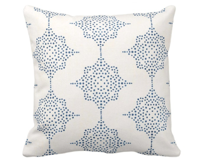 """OUTDOOR Block Print Stars Throw Pillow or Cover, Navy & Ivory 16, 18 or 20"""" Sq Pillows or Covers, Dark Blue Geometric/Geo/Star/Blockprint"""