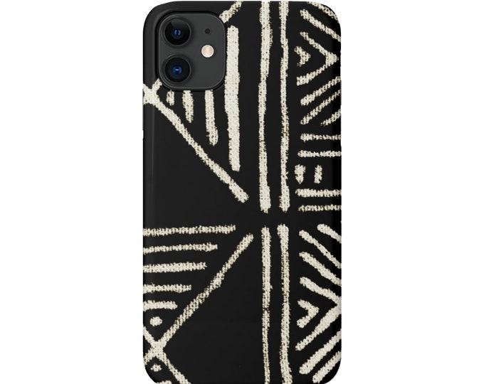 Mud Cloth iPhone 11, XS, XR, X, 7/8, 6/6S, Pro/Max/P/Plus Snap Case or Tough Protective Cover, Black/Beige Boho/Geometric Print Galaxy lg
