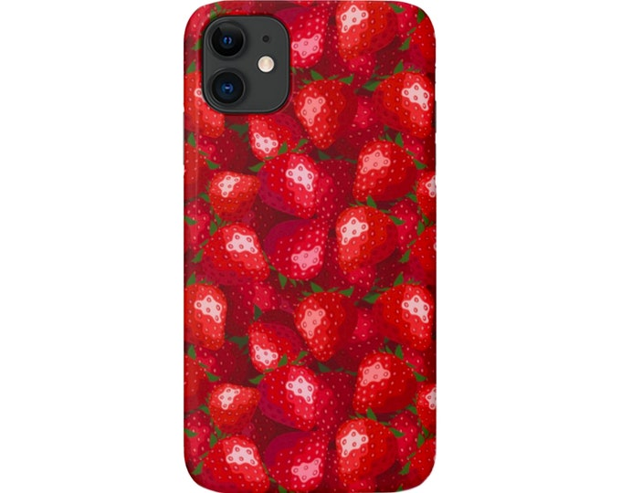 Strawberry Print iPhone 11, XS, XR, X, 7/8, 6/6S Pro/Max/P/Plus Snap Case or Tough Protective Cover, Bright Red Pattern, Galaxy lg Huawei