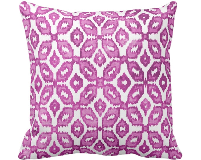 "OUTDOOR Berry Ikat Print Throw Pillow or Cover 16, 18, 20, 26"" Sq Pillows/Covers Purple/White Geometric/Diamonds/Dots/Diamond/Trellis"