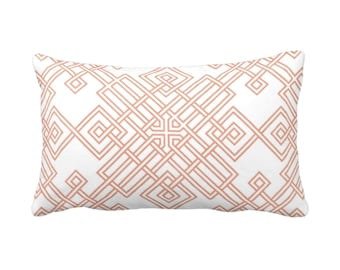 "OUTDOOR Interlocking Tile Throw Pillow or Cover, Coral/White 14 x 20"" Lumbar Pillows or Covers, Orange/Red Trellis/Lattice Print/Pattern"