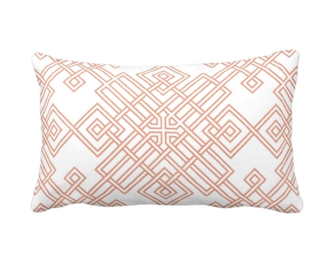 "Interlocking Tile Throw Pillow or Cover, Coral/White 14 x 20"" Lumbar Pillows or Covers, Orange/Red Trellis/Lattice Print/Pattern"
