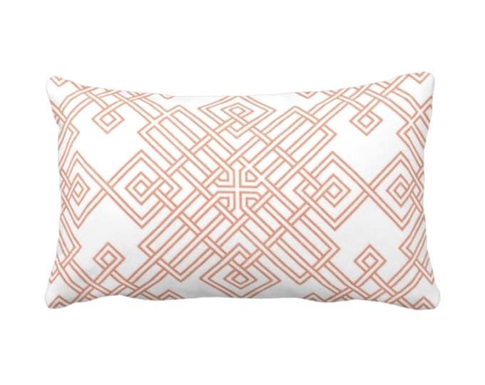 "OUTDOOR Interlocking Tile Throw Pillow or Cover, Coral/White 14 x 20"" Lumbar Pillows or Covers, Orange/Red Trellis/Lattice Print/Pattern"