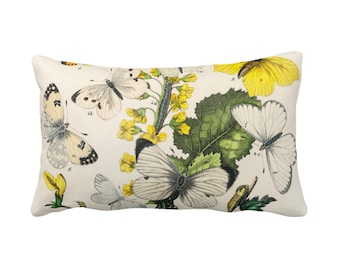 "OUTDOOR Vintage Butterflies Throw Pillow or Cover 14 x 20"" Sq Pillows/Covers, Colorful Yellow/White/Green Butterfly Floral Print/Pattern"